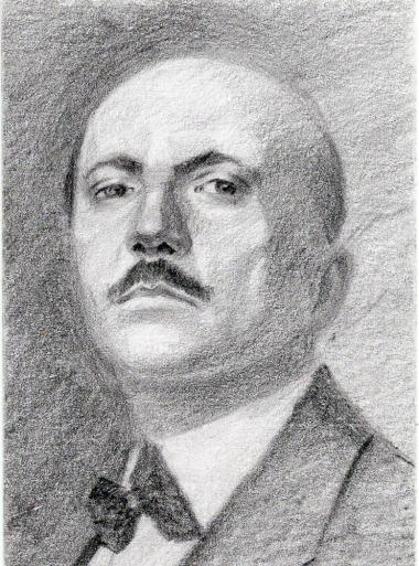 P.T. Marinetti. Drawing modeled from a photo by S. Vorobyev