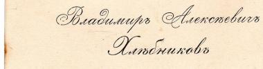 V.A. Khlebnikov's business-card