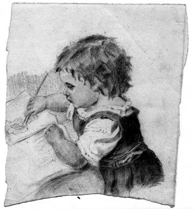Vera Khlebnikova. The drawing made in childhood, pencil on paper 14х12. <br>KM (The Khlebnikov museum), Г-483.
